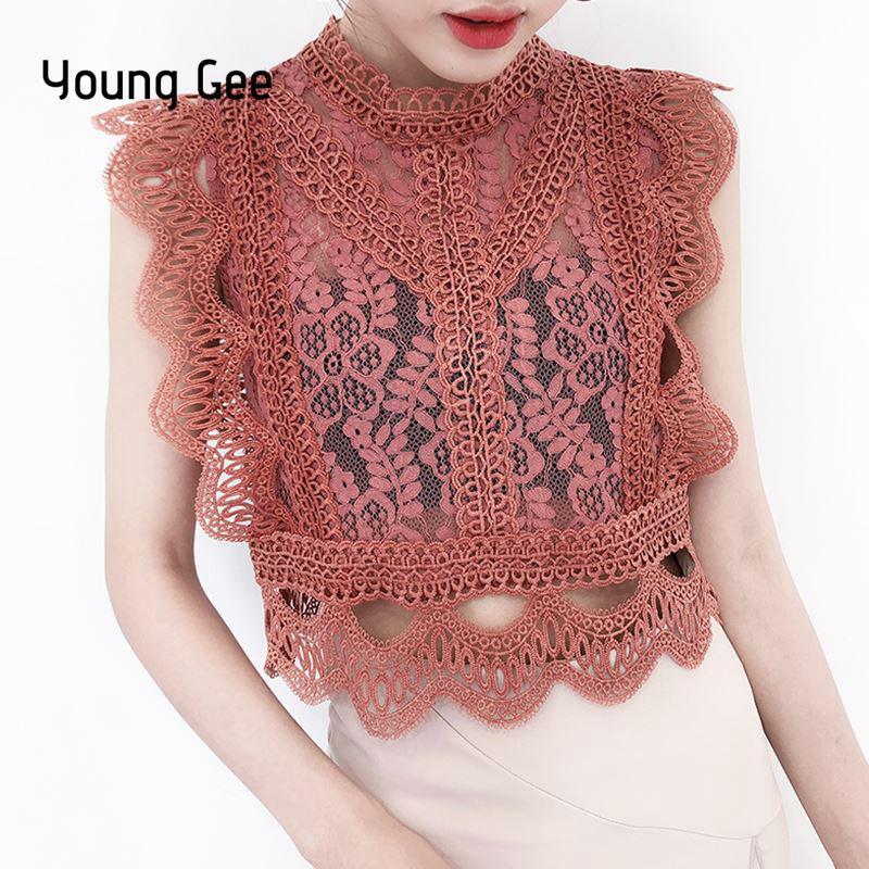 0b8c0b41c9634 Young Gee Elegant Lace Floral Blouse Stand Shirt Women Summer Blouses 2019  Sleeveless Hollow Out Pink Blue White Black Lace Tops Y19042902