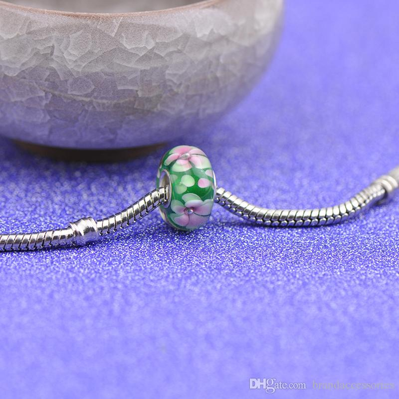 Shining Pink Flowers Green Murano Glass Beads S925 Silver Core Charms Fit Pandora Bracelets Necklace DIY Girl Jewelry Accessories PDZ110