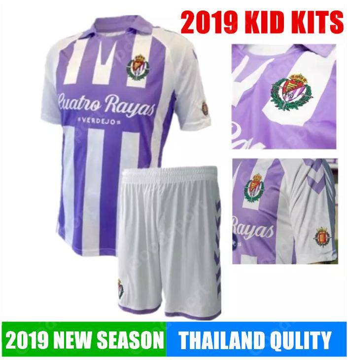 b4a7df68e52 KID KITS 2019 REAL Valladolid Soccer Jerseys Jaime Mata Michel Borja ...