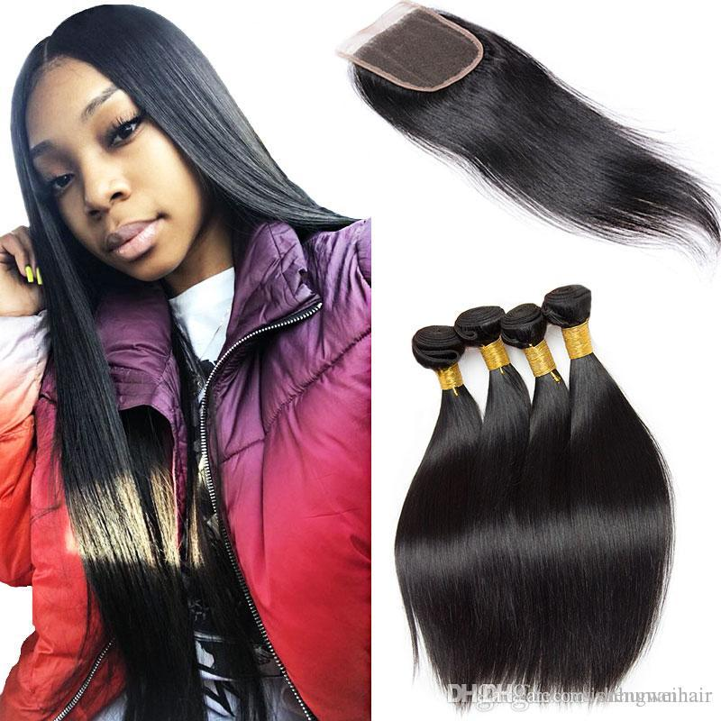 Straight Human Hair 3 Bundles With Closure Unprocessed 7a Raw Virgin Hair Mink Brazilian Hair Bundles For Wholesale Natural Black