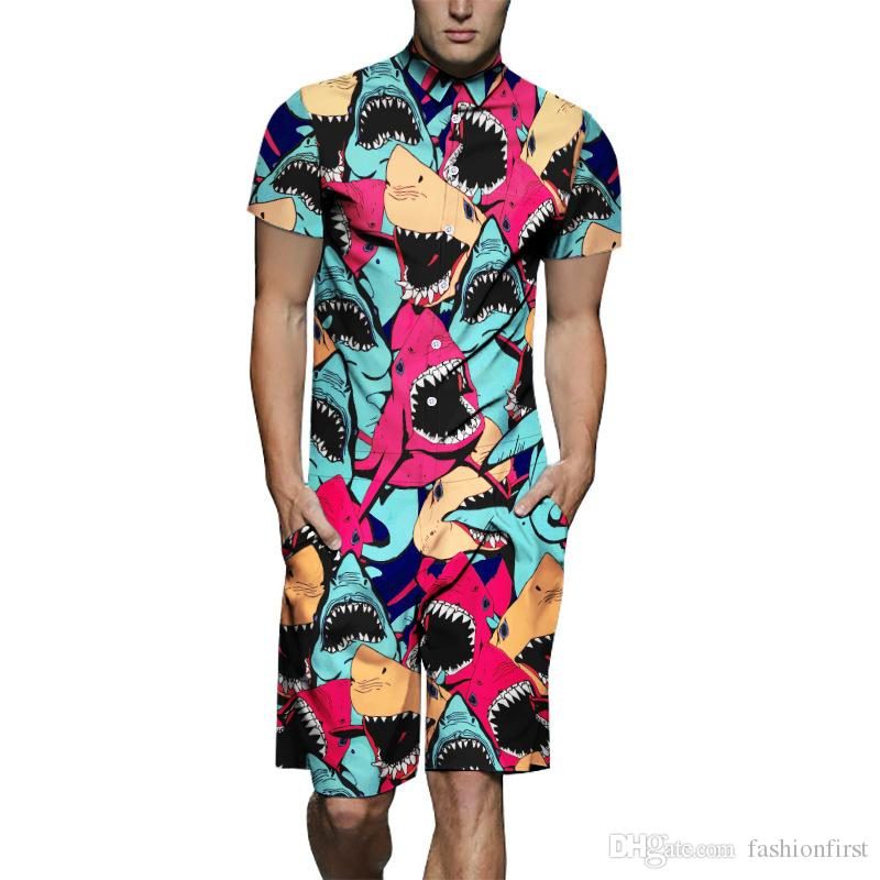 Blouse jumpsuit shark print short sleeve men's shirt jumpsuit youth size popular Onesie Mens Shorts Jumpsuit Romper Rave Outfit