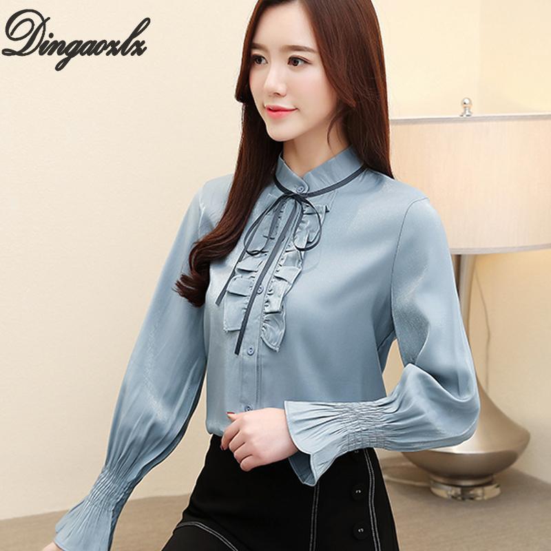 3f040bbbd140 Dingaozlz arco mujeres tops ropa casual 2019 nueva moda de manga larga  blusa de gasa elegante volantes costura camisa de gasa