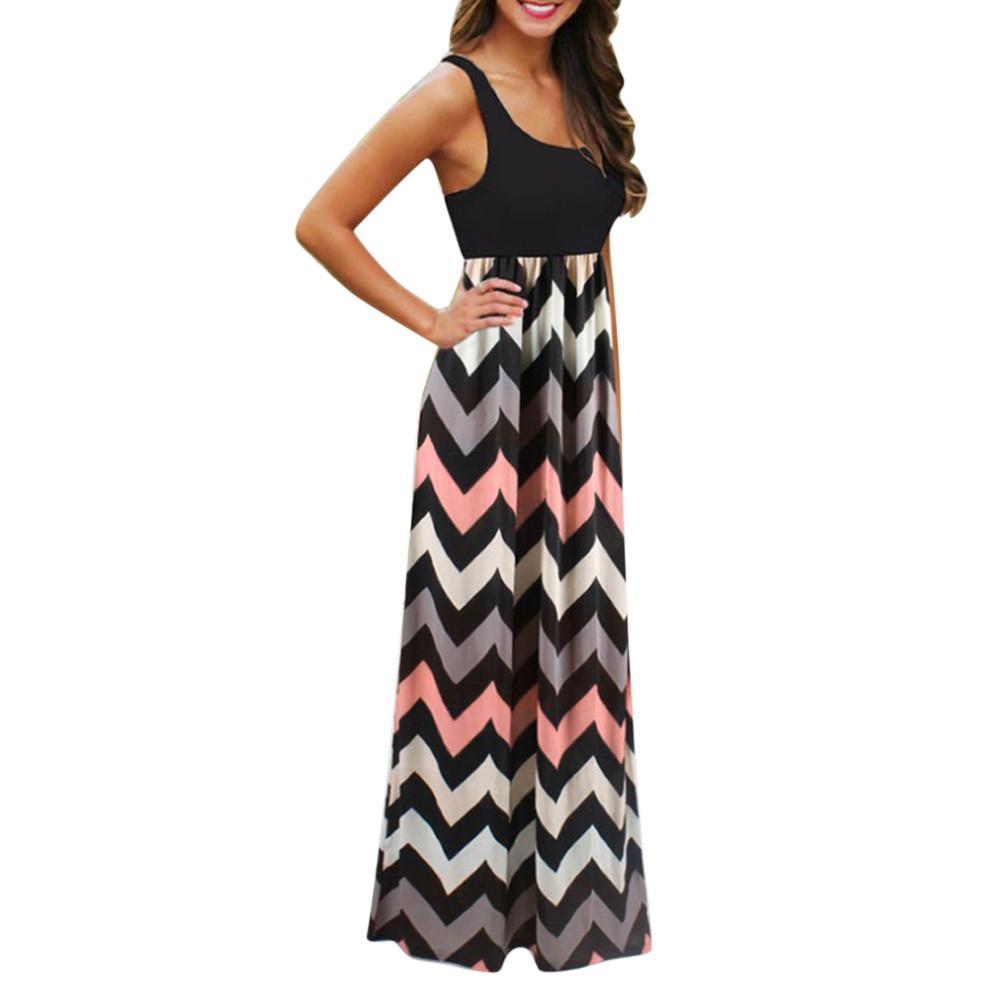 c51c5a430 Vestidos largos de rayas para mujer Boho Lady Patchwork Sin mangas O-cuello  Playa Vestidos de verano Vestido largo