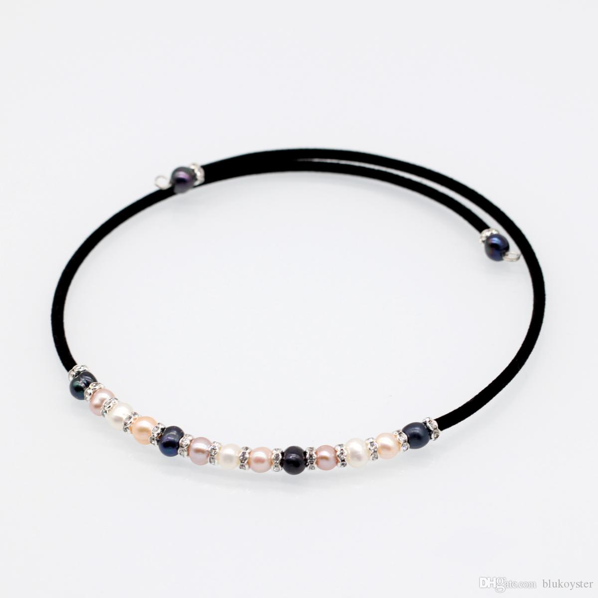 2019 New Fashion Leather Wire Pearl Necklace Freshwater Natural White Pink Purple Black Pearl Choker Necklace Jewelry for Women