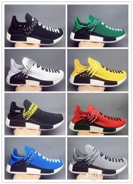 huge selection of 9deb8 94b3b Acquista Cheap 2019 Human Sneaker Race Uomo Donna Pharrell Williams HU  Runner Giallo Nero Bianco Rosso Verde Grigio Blu Sport Scarpe Da Corsa  Taglia 36 47 A ...