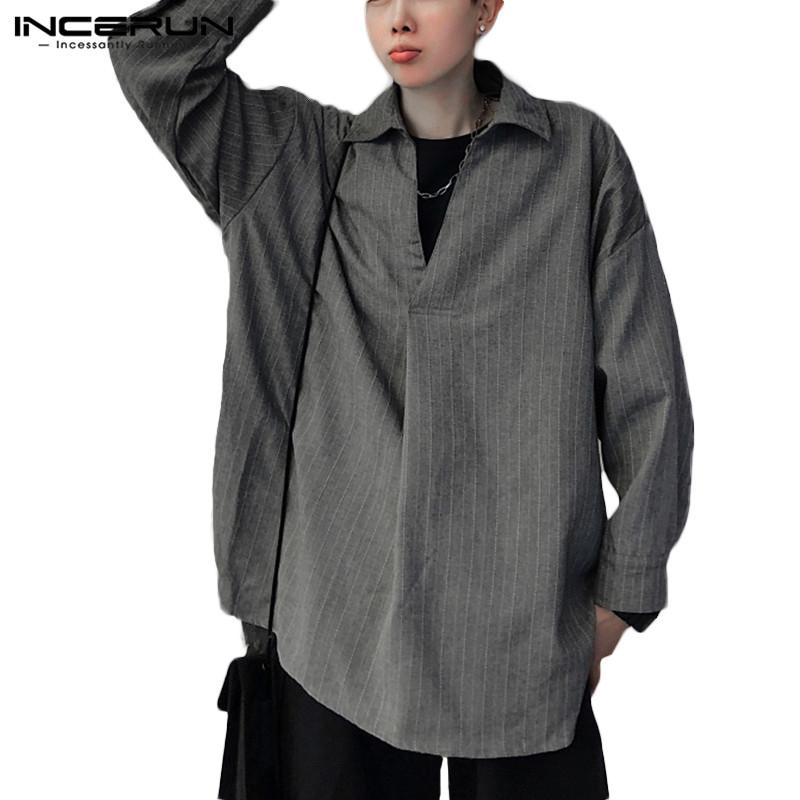 INCERUN Men Striped Shirt Long Sleeve Fashion Loose V Neck Streetwear Hip-hop Korean Style Chic Mens Casual Shirts Chemise 2019