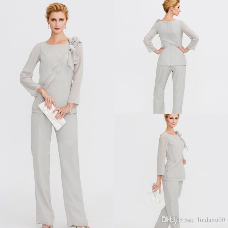 Classy Silver Mother Of The Bride Pant Suits Two Pieces Jewel Neck Cheap  Wedding Guest Dress Plus Size Chiffon Mothers Groom Dresses