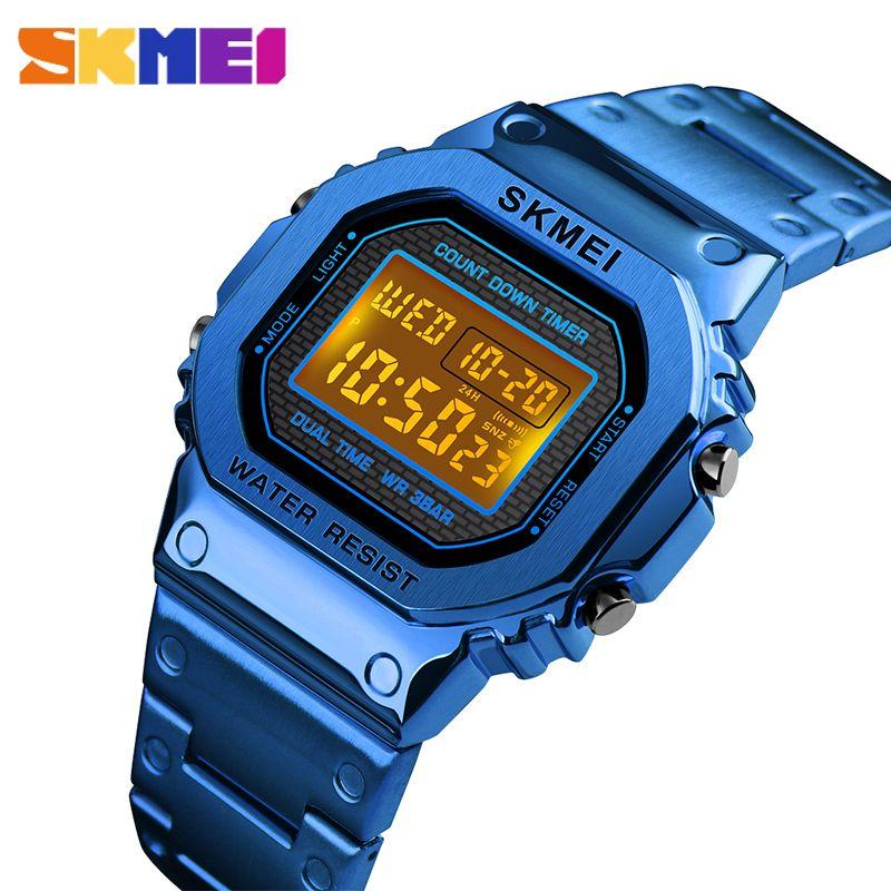 27d33b5a5254 Compre SKMEI 2019 NUEVOS Relojes G Style Para Hombre Relojes De Pulsera De  Acero Inoxidable Cuadrados De Acero Inoxidable De Lujo Para Mujer Reloj LED  ...