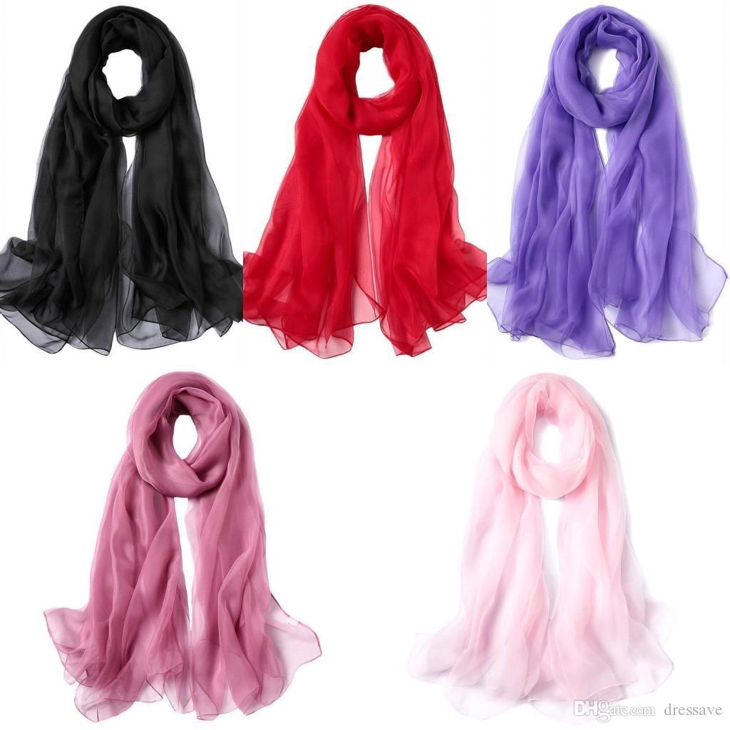3189896d5b4860 Großhandel 180 * 120 Cm 2018 Große Größe Chiffon Lange Schals Frauen Mode  Hohe Qualität Imitiert Seide Satin Schals Polyester Schal Hijab Wraps Von  Dressave ...