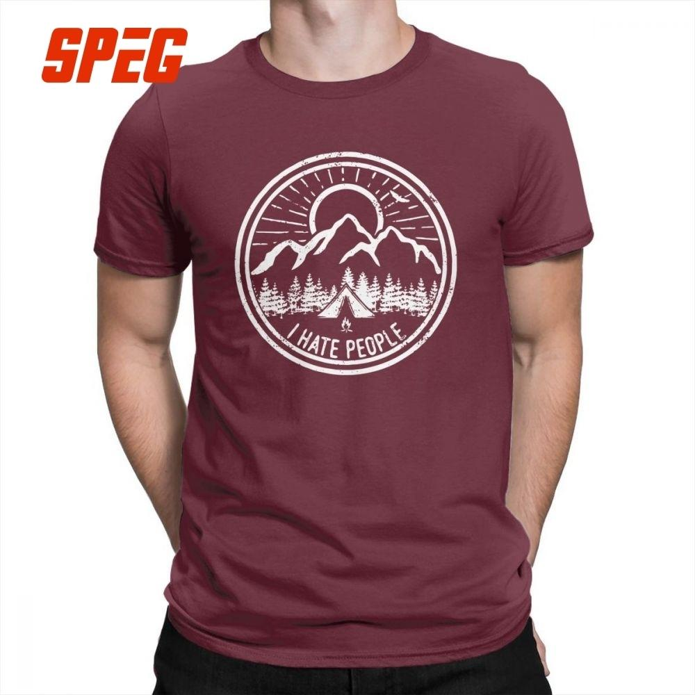 Camping I Hate People Camping Lovers Mountain Climbing Hiking Men T Shirts Casual 100% Cotton Short Sleeved Tees T-shirt Tops J190612