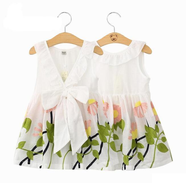 cb15ff92417 2017 new baby girl clothes dresses flower printed dress big bow sleeveless  cotton girls dresses cartoon kids clothing BY0757
