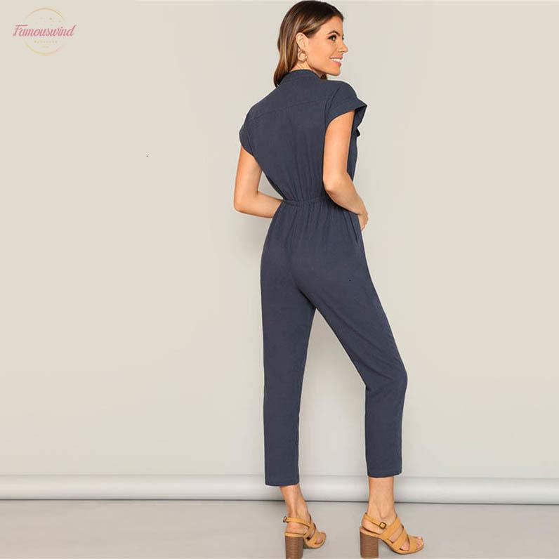 Navy Drawstring Button And Pocket Front Waist Solid Cap Sleeve Jumpsuit Women Summer Casual Highstreet Workwear Jumpsuits