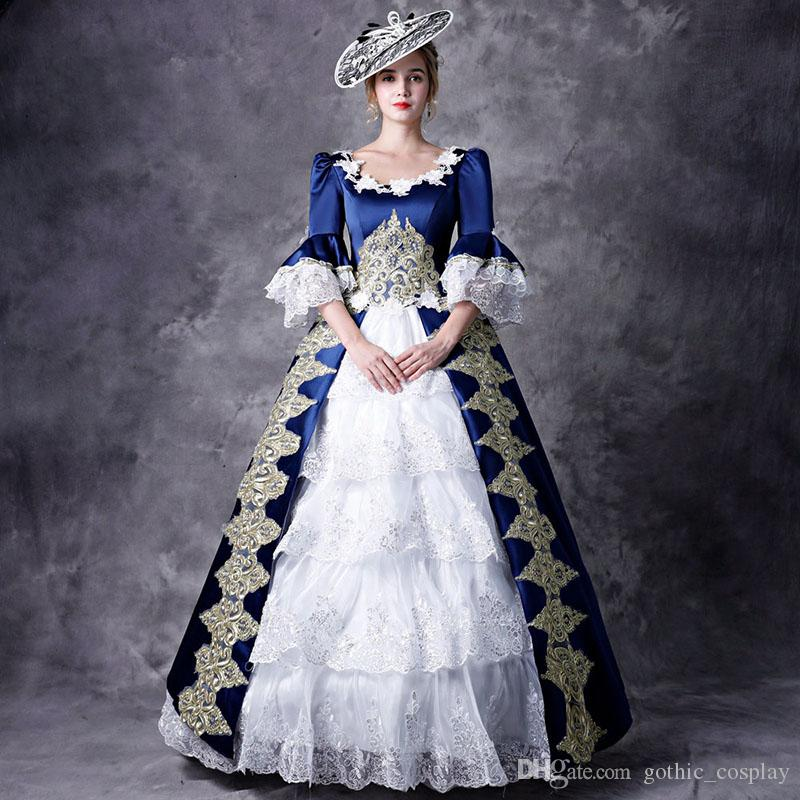 ef0fa78e49b4 Customized Blue Half Sleeve Women Cosplay Costumes 18th Century Appliques  Baroque Stage Show Dress For Women Online with $179.65/Piece on  Gothic_cosplay's ...
