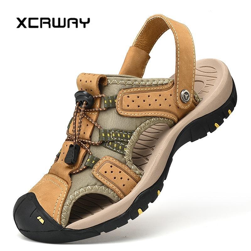 hot sale online 9e230 34816 XCRWAY 2019 Outdoor Sandalen Aus Echtem Rindsleder Männer Sandalen Strand  Schuhe Handgemachte Comforable Wasser Schuhe Plus Größe 38-47