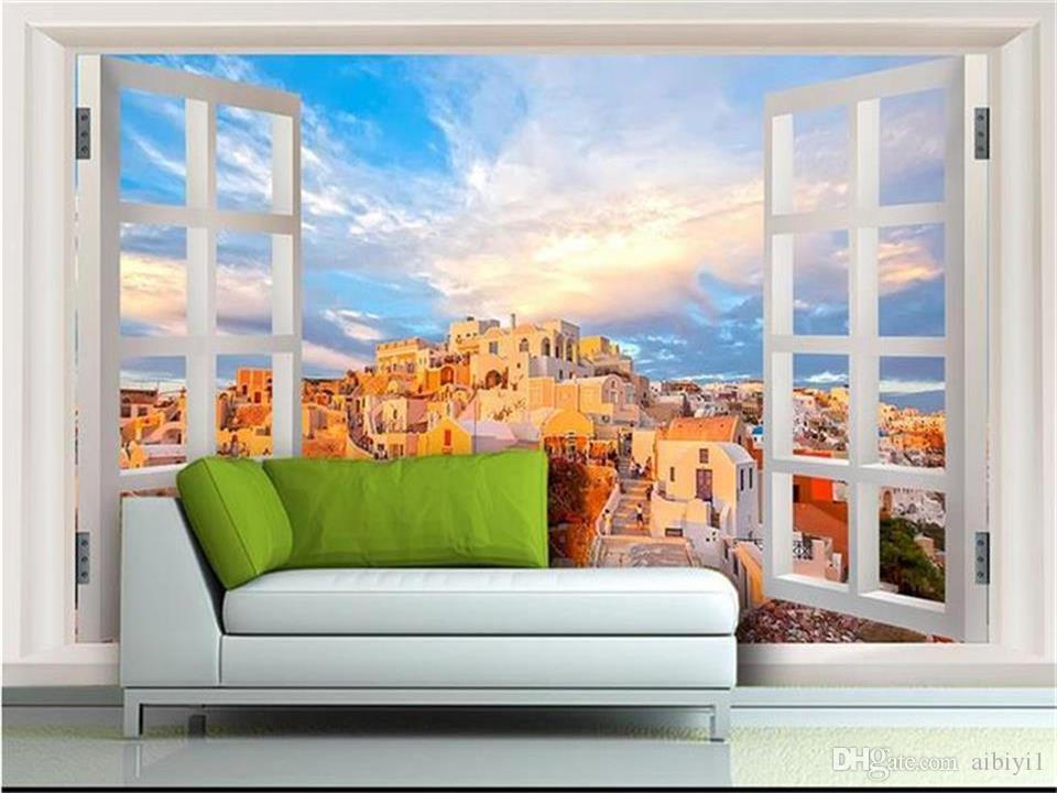 benutzerdefinierte größe 3d fototapete wohnzimmer mural fenster mediterran  landschaft 3d bild sofa tv hintergrund tapete vlies wandaufkleber