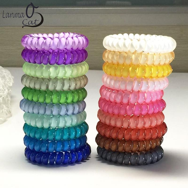 Middle Size Hair Scrunchie Popular Korean Candy Color Telephone Wire Style  Elastic Band Rope Or Bracelet For Women Headbands Jewelry Cute Hair  Accessories ... b23f09dfb39