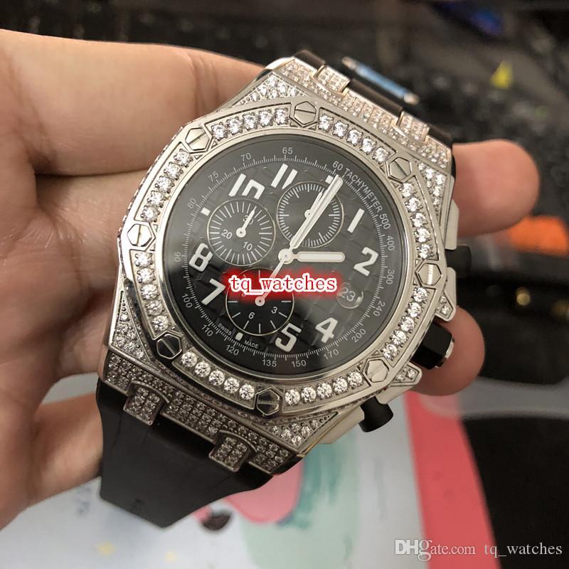 cfb10743e53 ... Quartzo Relógio Esportivo Dos Homens Rosto Negros Relógios De Prata  Caso Diamante Relógio De Borracha Preta Strap Wristwatch Frete Grátis De  Tq watches