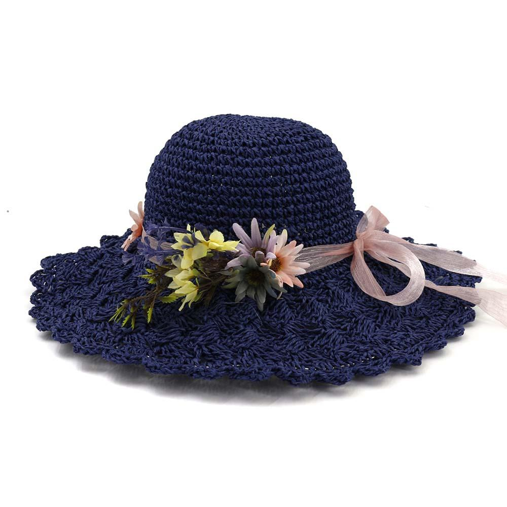 66197d592479a 2019 Fashion Panama Handmade Weave Straw Hat Women s Hat Flowers ...