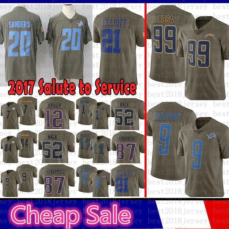 wholesale dealer a8424 259cb Los Angeles Chargers Jersey 99 Joey Bosa 2017 Salute to Service Detroit  Lions 9 Matthew Stafford 20 Barry Sanders 21 Ezekiel Elliott Cowboys