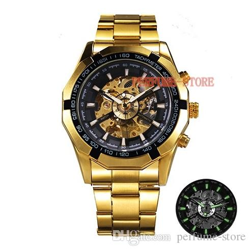 13a6a75eb Winner Watch Men 45mm Skeleton Automatic Mechanical WatchES Gold Skeleton  Vintage Man Watch Mens FORSINING Watch Top Brand Luxury Unique Watches  Black ...