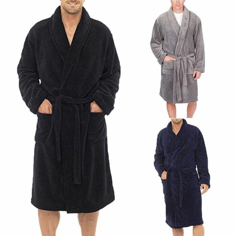 Women Men/'s Soft Long Sleepwear Robes Shawl Collar Fleece Bathrobe Spa Pajamas K