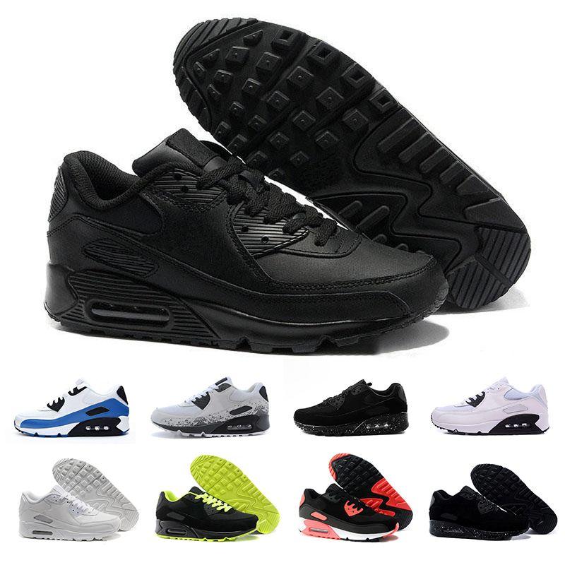 0885a8a8f Compre 2019 Clássico 90 Sapatilhas Baratas Sapatos Para Mulheres Dos Homens  Tênis De Corrida Preto E Branco Esportes Trainer Air Cushion Tênis De  Corrida ...