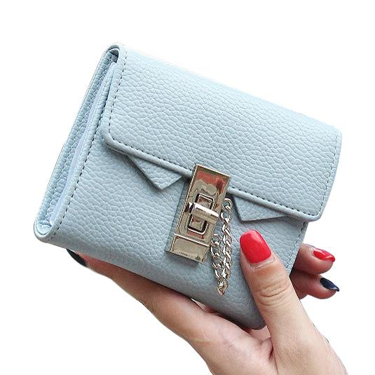 32505f229f Fashion Litchi Stria Pu Leather Women Wallet Solid Short Lady Purses Female  Brand Design Wallets Woman Chain Lock Coin Purse Bag Nice Wallets Custom  Leather ...