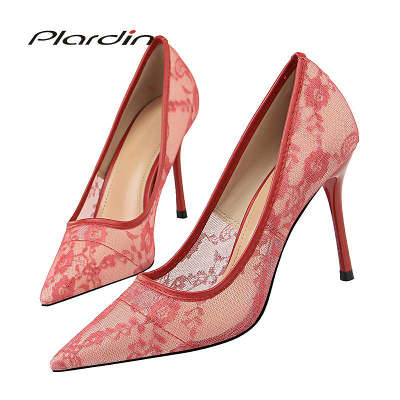 Dress Plardin New Lace Thin Heel Pumps Women Shoes High Heel Shallow  Embroider Woman Sexy Party Wedding Ladies Shoes Woman Shoes Summer Shoes  Womens Loafers ... 1392e894129a