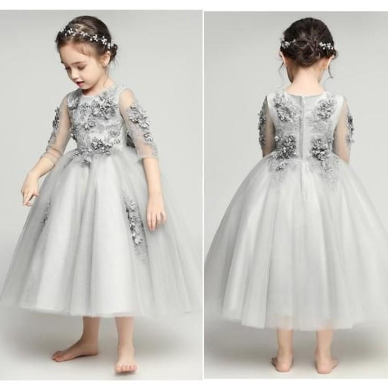 lovely gray flower girl dresses 2019 new appliques tiered