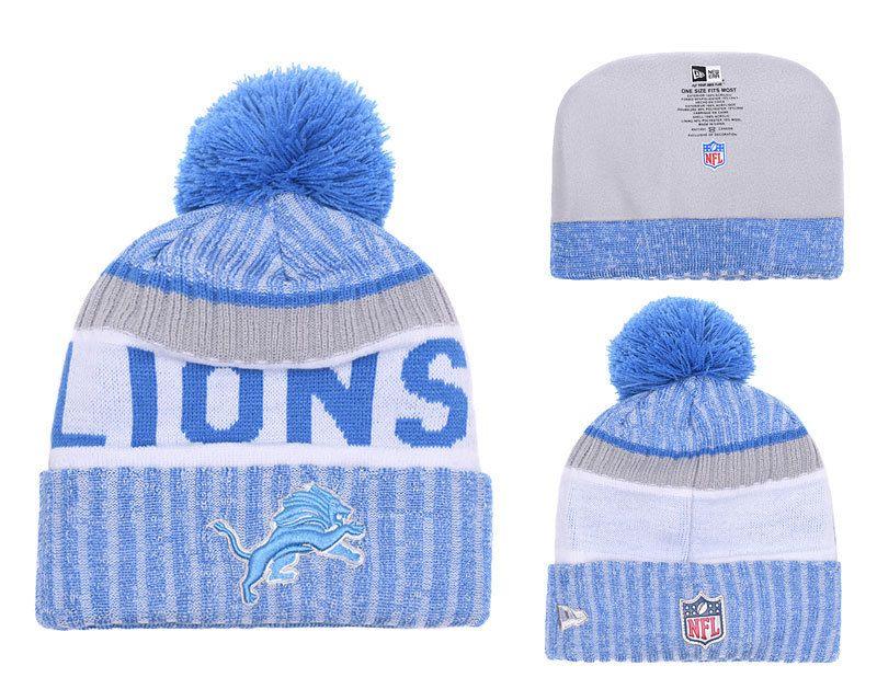 b76bda8b Men's Detroit Lions New Blue 2018 Sideline Cold Weather Black Official  Sport Knit Hat 02