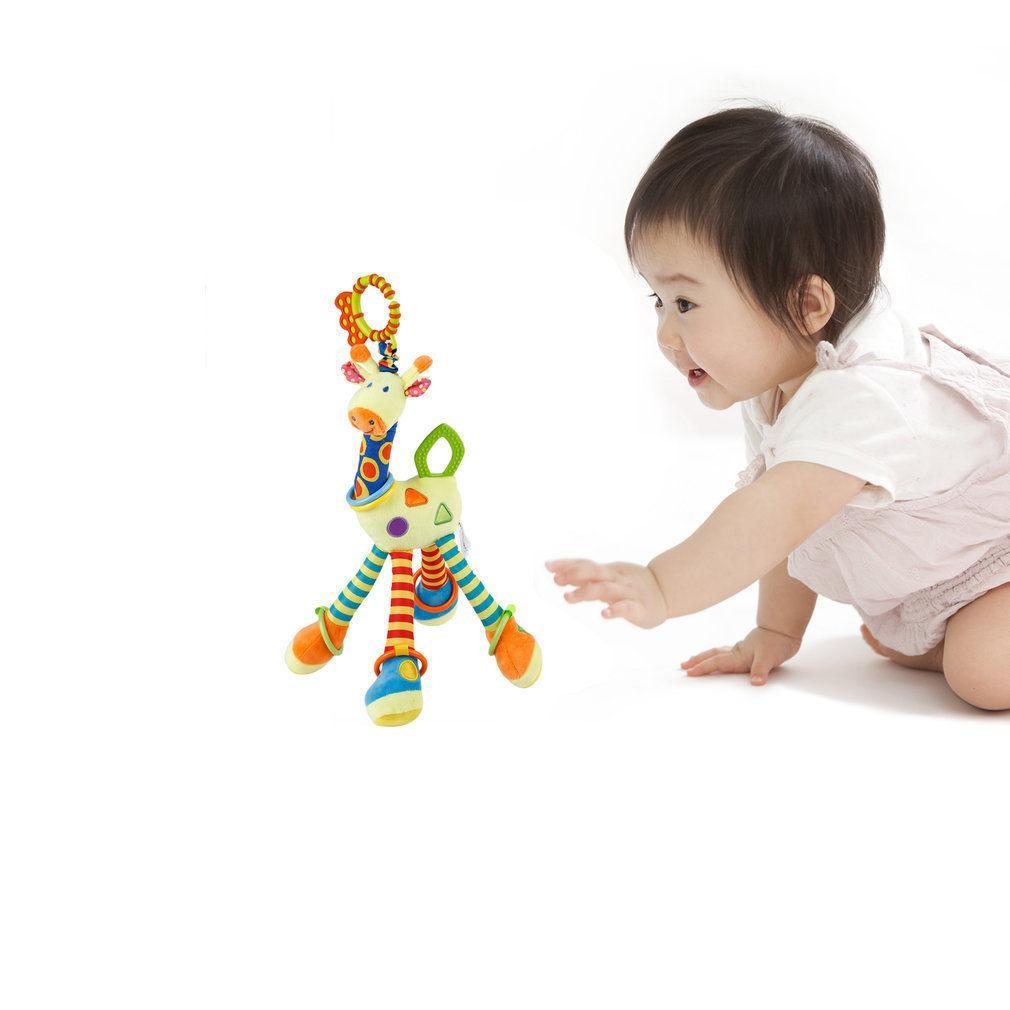 Bebê recém-nascido Pram Mão Bed Sinos macia Pendurado Brinquedos infantil dos desenhos animados Girafa animal Handbells chocalhos móvel Plush