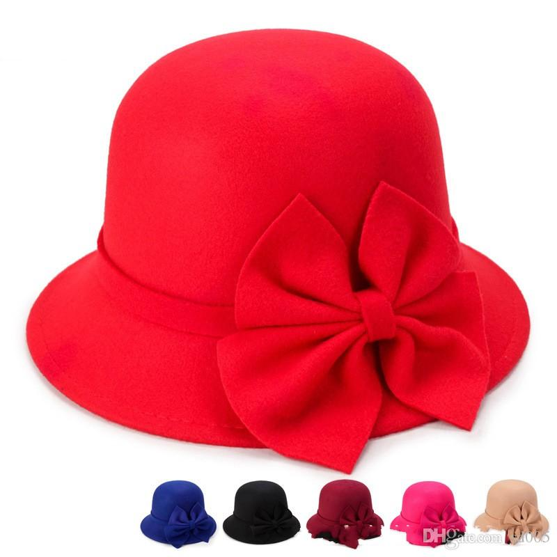 Female Winter Beret Bowknot Formal Hat Keep Warm Cap Fashion Lotus Leaf Edge Red Blue Durable Factory Direct Selling Anti Wear C1