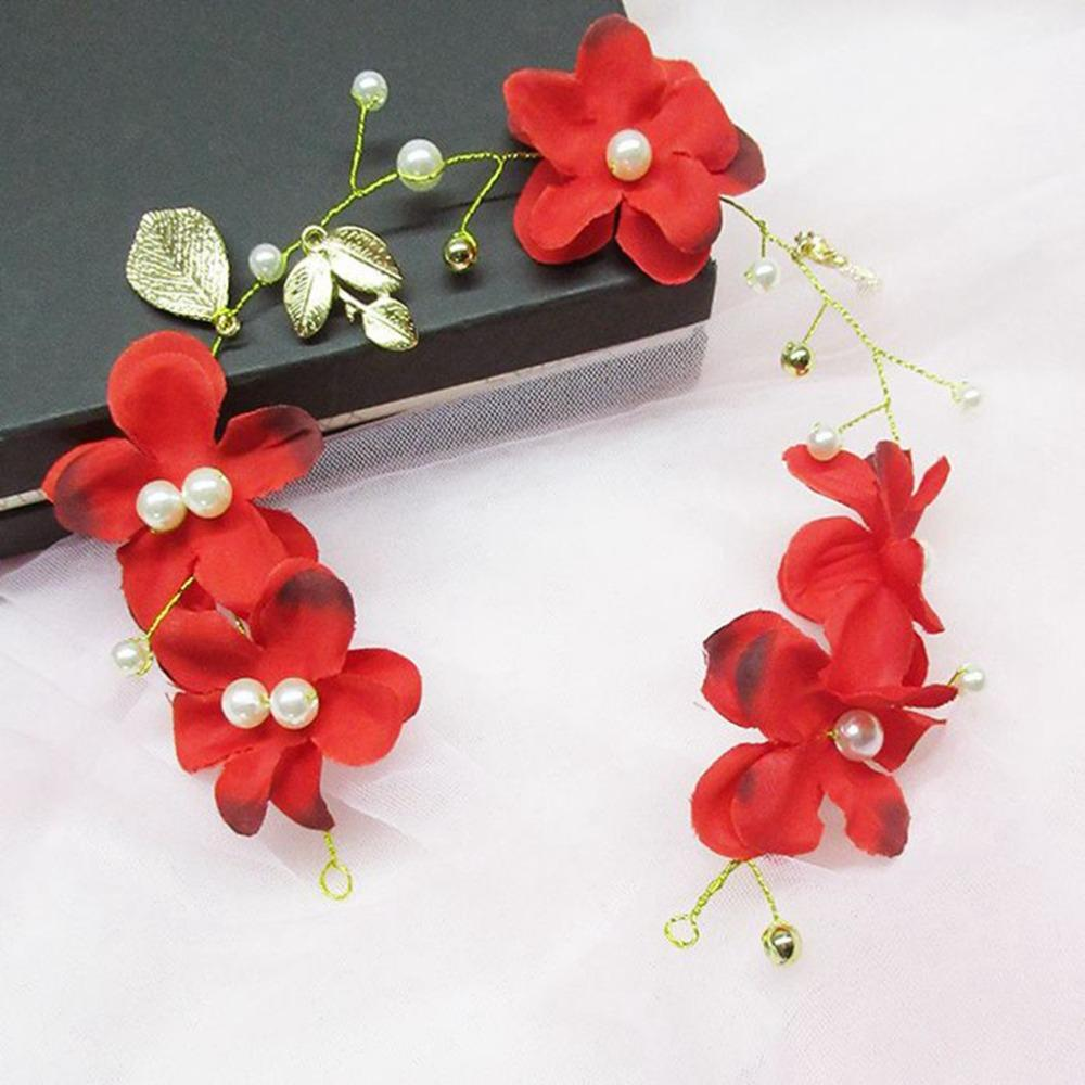 Exquisite Flower Red Pearl Headdress8 nupcial