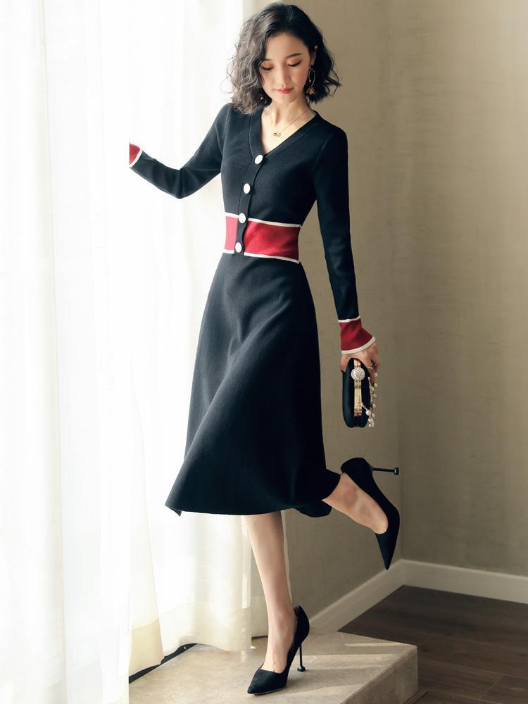 2c1844c02c15 2019 Vestido vintage de mujer de primavera de manga larga vestido de punto  con cuello en v partido negro damas vestidos otoño vestidos de fiesta ...