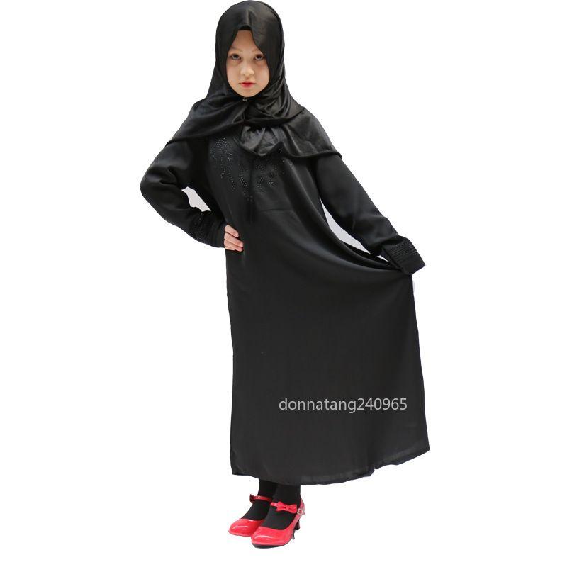 38d23608d5dad Traditional Flower Kids clothing Fashion Child Abaya Muslim Girl dress  jilbab and abaya islamic Children hijab dresses