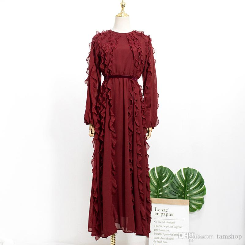 Autumn chiffon long dress Women pleated dresses crew neck dress puff long sleeve