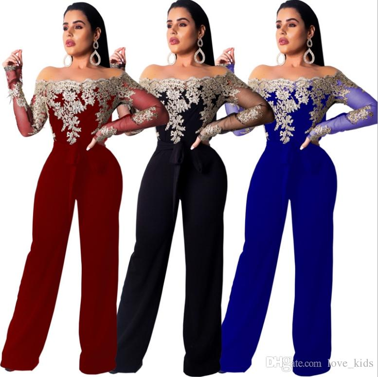 Sexy women Off Shoulder Sexy Lace Jumpsuit Summer Fashion red black fashion lady blue embroidery jumpsuit