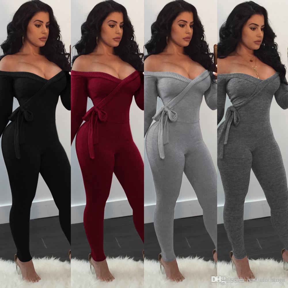 Acheter Sexy Hors Épaule Profond V À Lacets Body Combinaison Femme 2019  Nouveau Solide À Manches Longues Barboteuses Maigre Combinaison Longue  Pièce ... ef2fbee8431