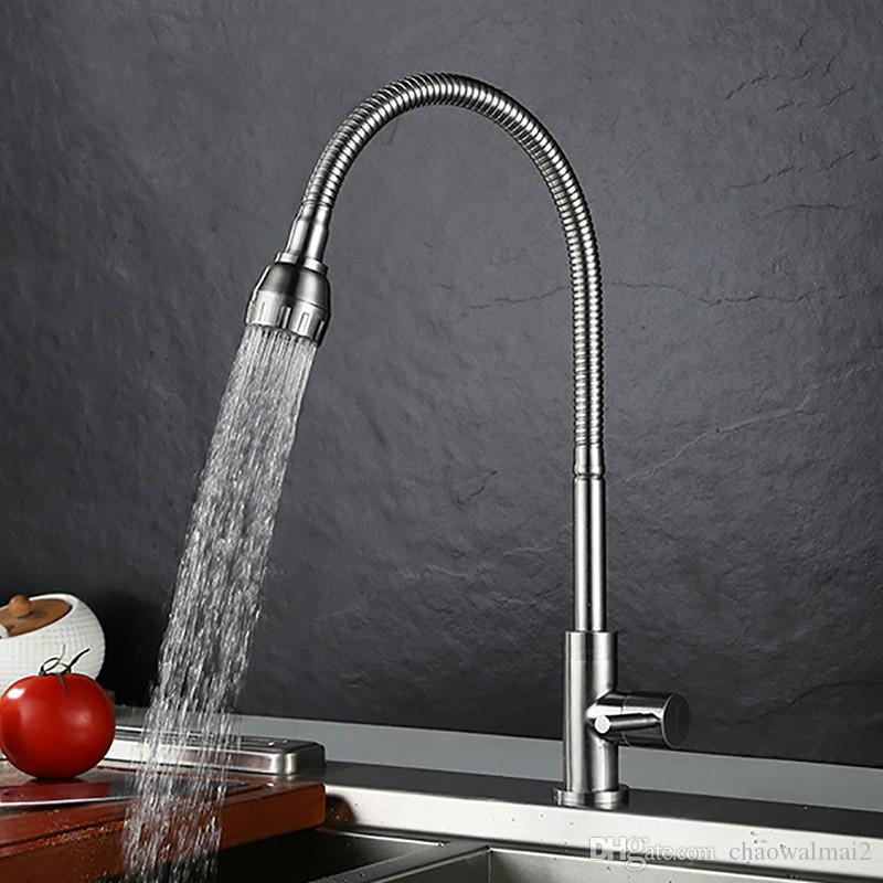 304 Stainless Steel Single Cold Kitchen Faucet With Shower Head Deck Mounted Water Tap