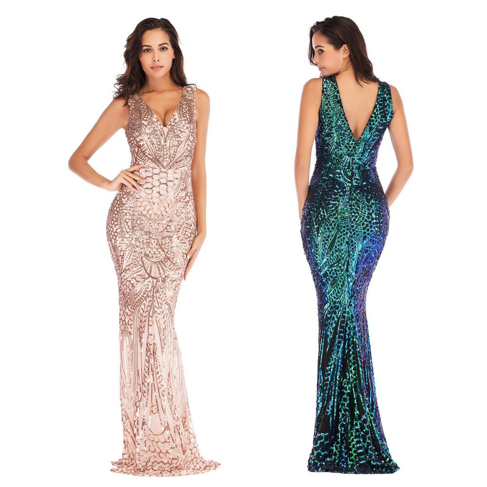 6fda97aa6da 2019 Women Sequin Sleeveless Maxi Evening Prom Dress Ladies Summer Sexy  Deep V Neck Cocktail Party Bridesmaid Long Dress From Gogoyoung