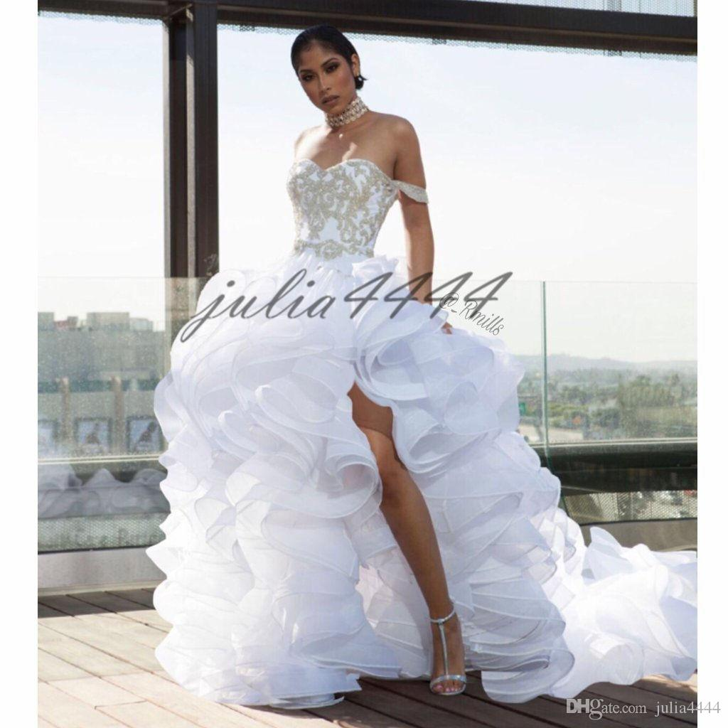 Formal White Evening Dresses 2019 Sleeveless Sweetheart Off Shoulder Plus Size Split Prom Gowns robe de soiree Elie Saab Formal Wear Dresses