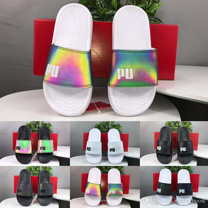 6726c8a90a35 2019 Slogan Rainbow Color Leadcat Fenty Rihanna Faux Fur Slippers ...
