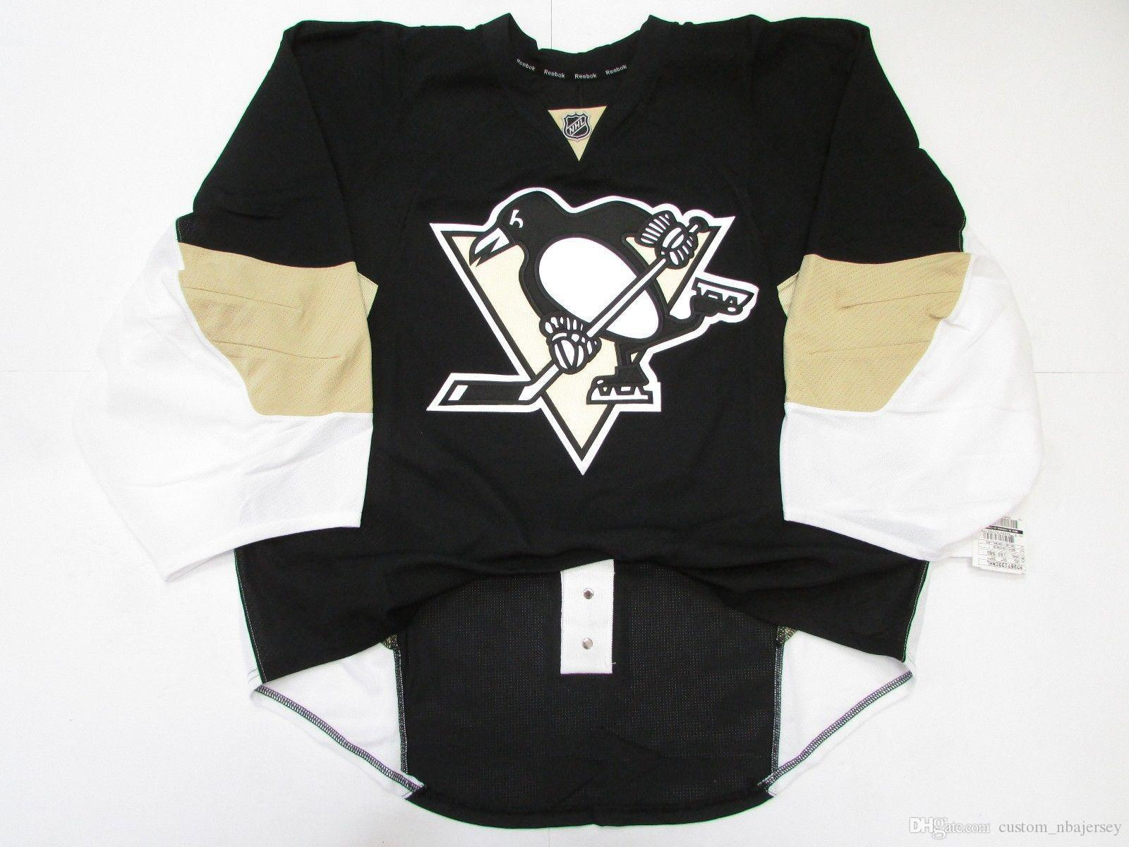 sale retailer 3462a ed237 Cheap custom PITTSBURGH PENGUINS HOME JERSEY GOALIE CUT 58 stitch add any  number any name Mens Hockey Jersey