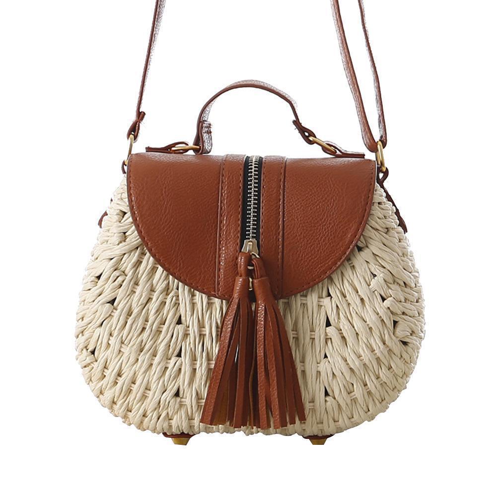 40a447c632 Tassel Handmade Straw Woven Bag Messenger Causal Round Pocket Tassel Beach  Vacation Shoulder Tote Bags For Women Girl Handbag Over The Shoulder Bags  Hobo ...