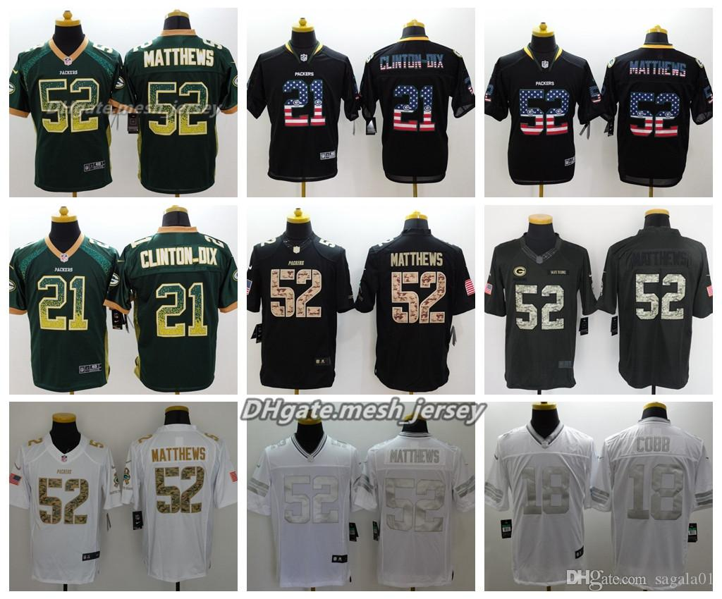 b635a0aec Men Green Bay Jersey Packers 52 Clay Matthews 21 Ha Ha Clinton-Dix ...