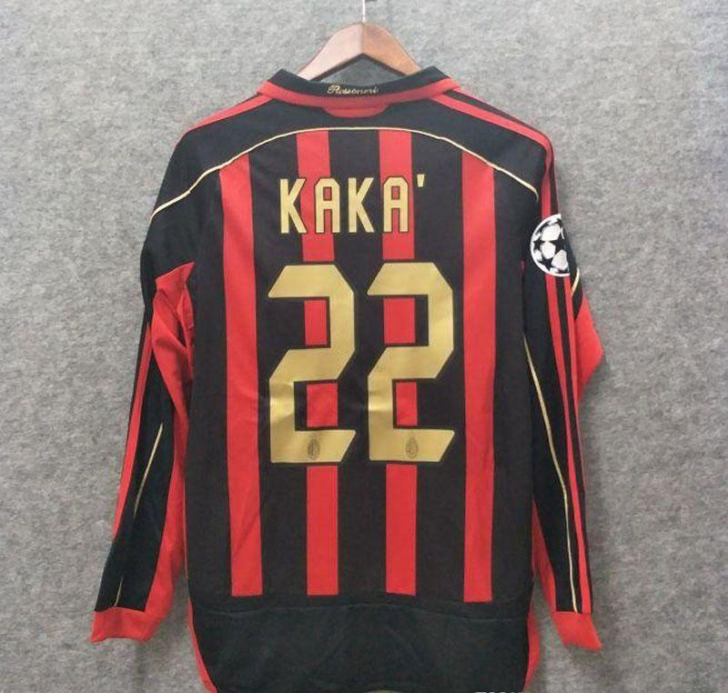 2020 Classic 2006 2007 Retro AC Milan Soccer Jersey Long ...