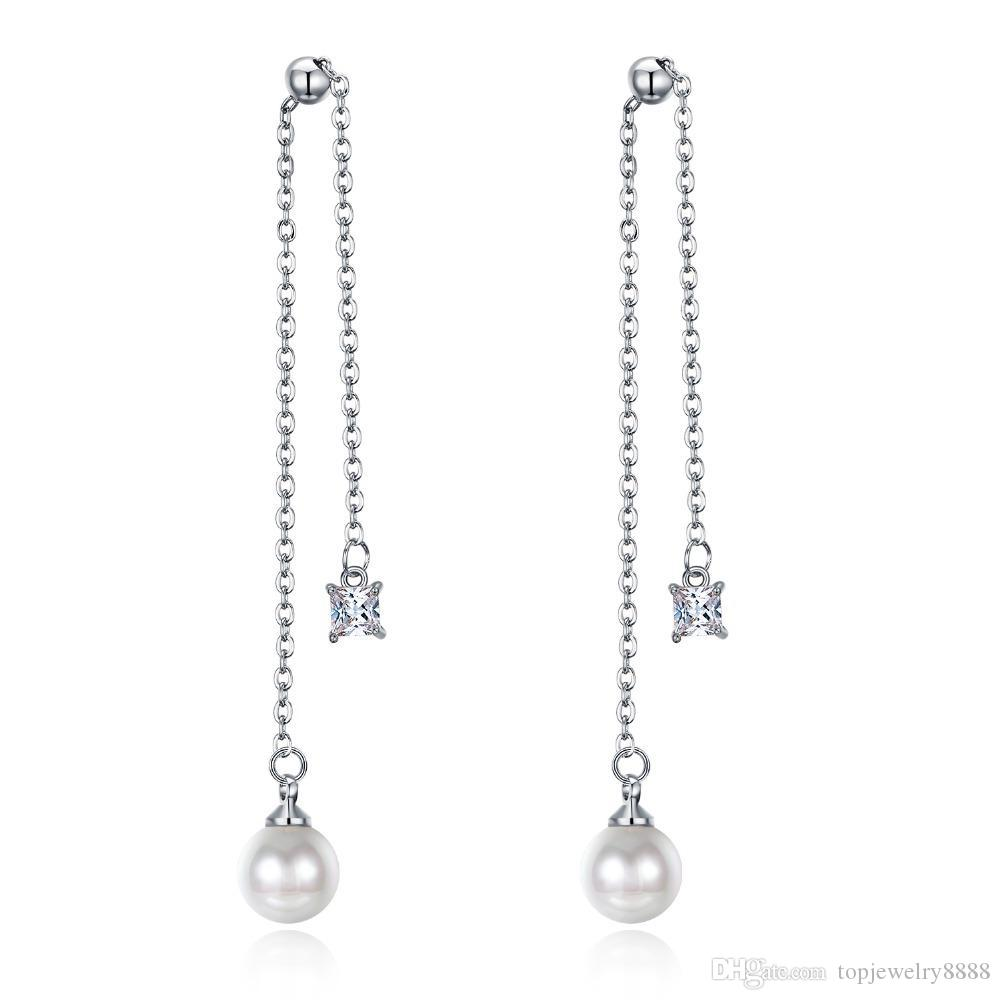 Slender Cubic Zirconia Vintage Long Women's Earrings Lustrous Pearl Silver Gold Drop Dangle Earrings Party Jewelry KE718