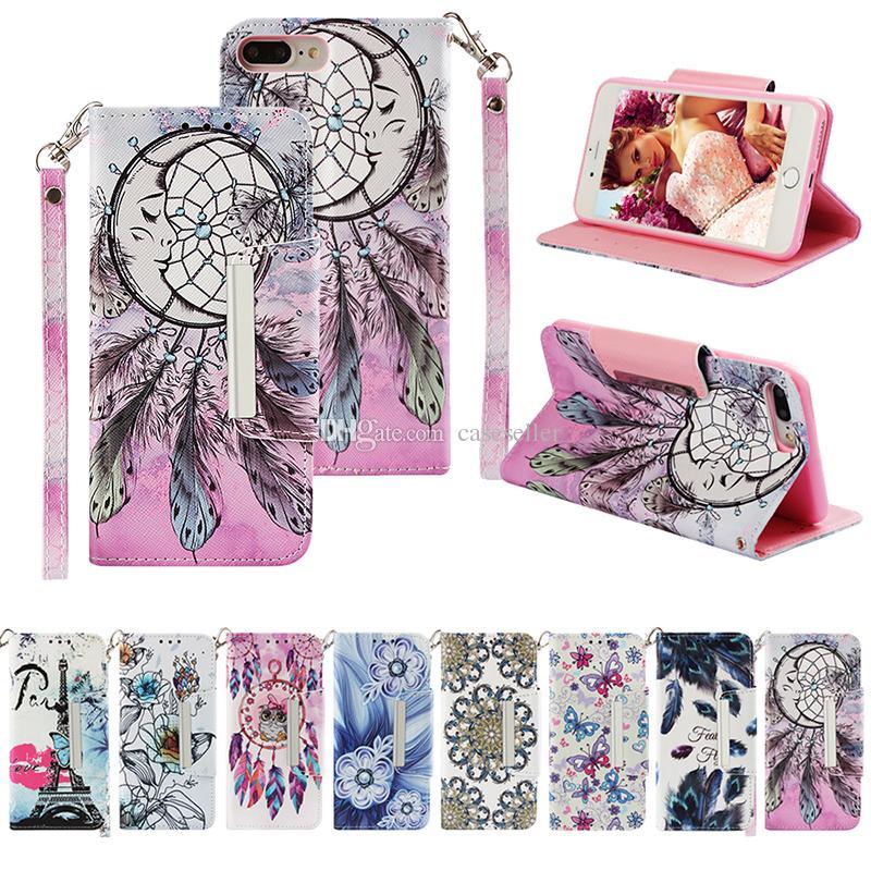 Eiffel Tower Leather Wallet feather Elephant Panda Cute Butterfly Flip Case  for Huawei mate20 pro lite P Smart P20 lite mate 10 pro