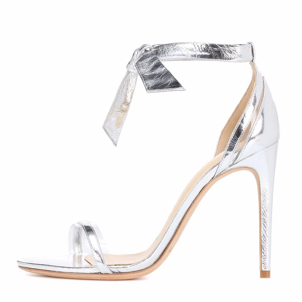 3ebc64e96b4 Women High Heels Sandals Ankle Strap Lace Up Summer Thin Heels Silver Shiny  Ladies Sexy Party Wedding Open Toe Shoes Big Size High Heels Heels From  Yigu009