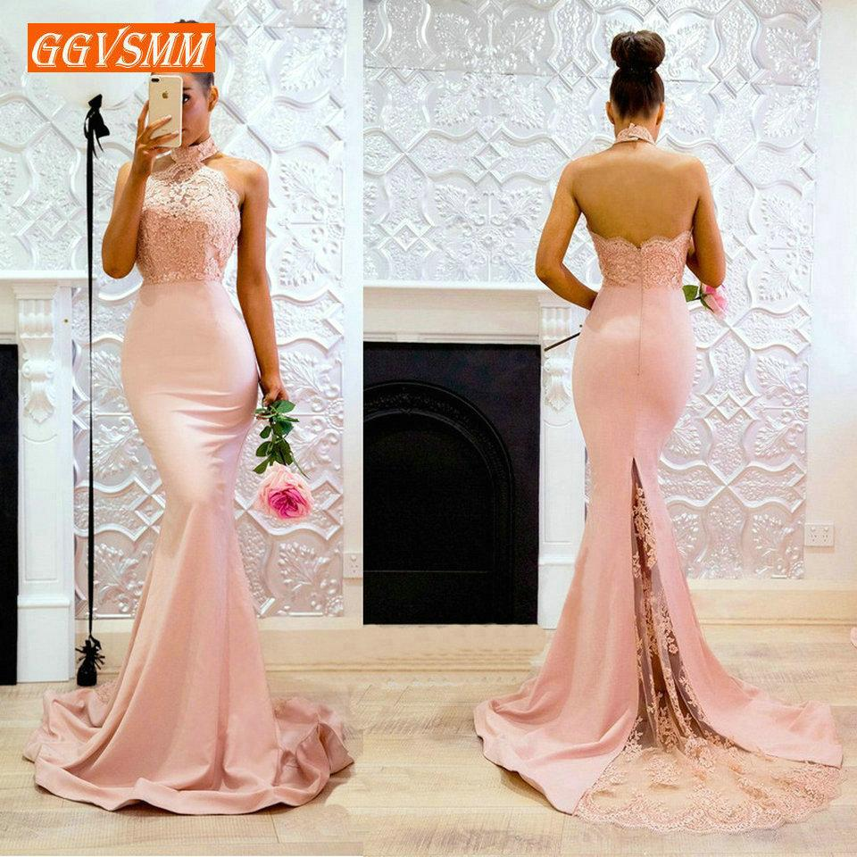 Sexy Pink Mermaid Evening Gowns 2019 Cheap Evening Dresses Long Halter-neck Elastic Satin Appl;iques Lace Club Women Party Dress Y19051401